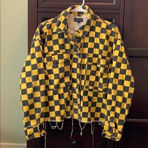 TOP SHOP BLACK AND YELLOW CHECKERED JACKET